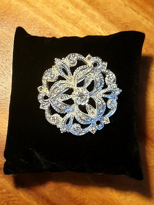 Floral Brooch with Preciosa Crystals