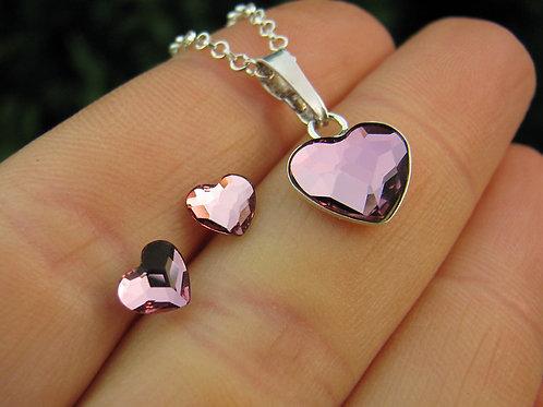 LOVELY Heart Swarovski Antique Pink Crystal Set