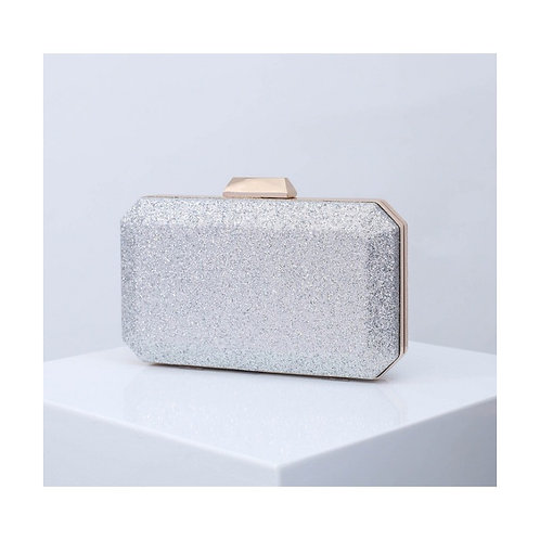 MARIGOLD Silver Glitter Box Clutch Bag