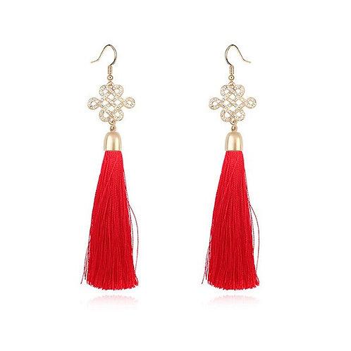 ETHEL Art Deco Red Tassel Gold Earrings