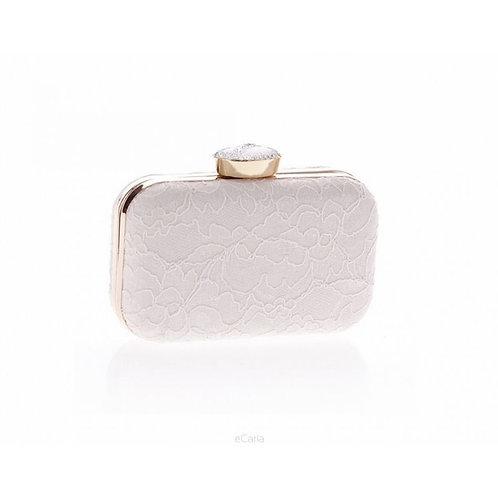 VENETA White Lace Crystal Elegant Box Clutch Bag