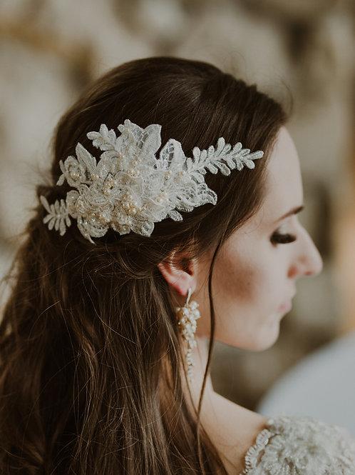 JASMINE Pearl Vintage Embellished Ivory Appliqué Wedding Hair Comb / Headband