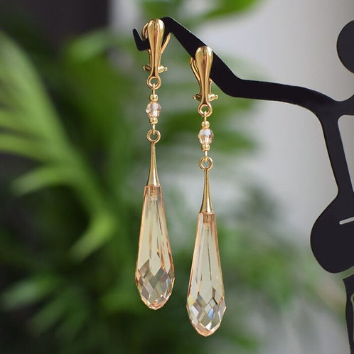 GRACE Gold-plated 24ct Golden-Shadow Long Icicle Drop Swarovski Clip-on Earrings