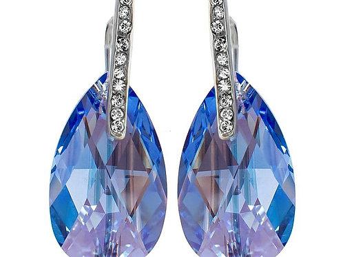SAPPHIRE SHIMMER Silver Swarovski Crystal Earrings