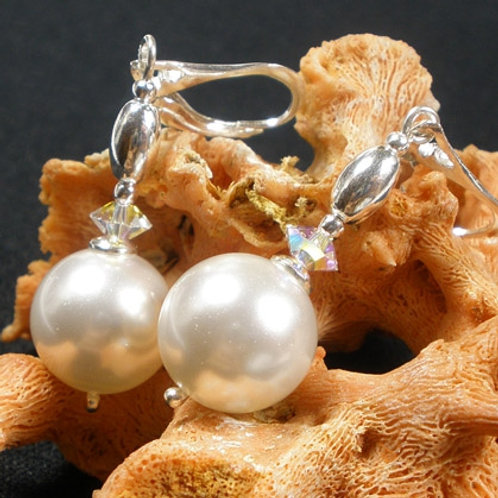 SHELLY Swarovski Pearl and Crystal Earrings
