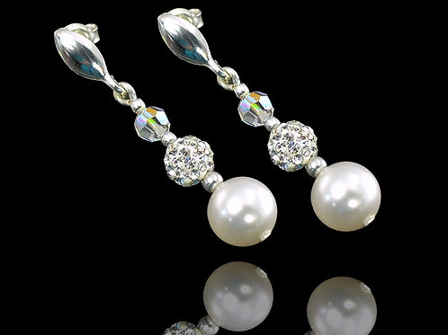 PALOMA Graduated Swarovski Crystal & Pearl Drop Silver Earrings