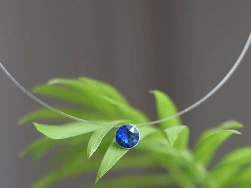 LIN Floating Round Swarovski Bermuda Blue Crystal Illusion Necklace
