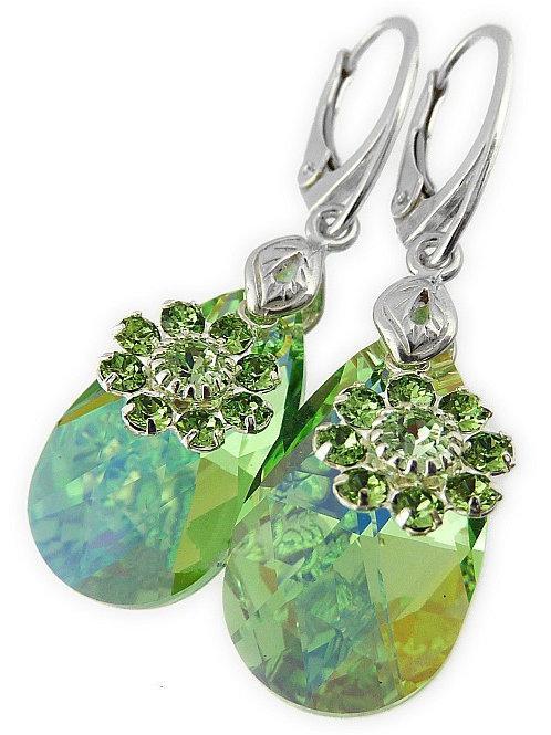 PERIDOT Flower Pear Drop Crystal Swarovski Earrings