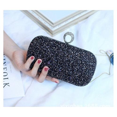 LAMOUR Black Glitter Box Clutch Bag