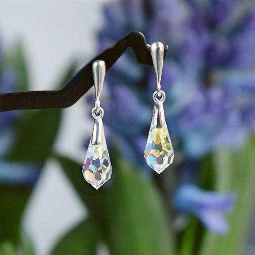 CLASSIC Graceful Swarovski Aurora Borealis Crystal Earrings 3 cm