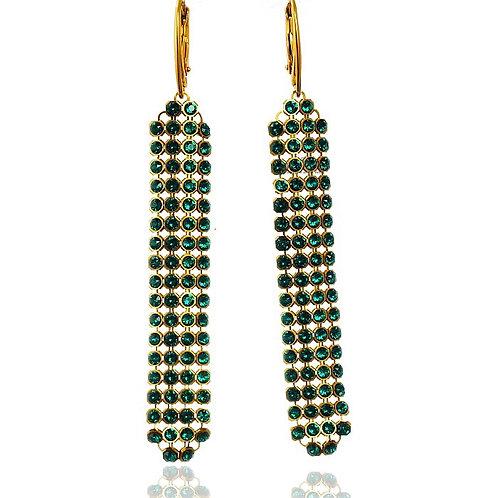 EMERALD Gold-plated Crystal Swarovski Long Earrings