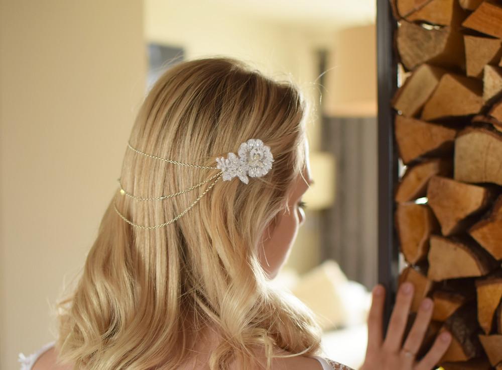 GRACEFUL Embellished Wedding Appliqué Swarovski Crystals/Pearls Hair Comb Drape - Touch of Venus Jewellery