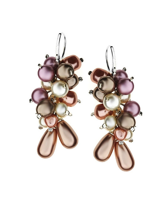 PEARL Ecru Cappucino and Rose Swarovski Long Earrings