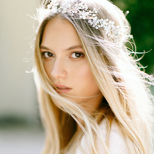 HARPER Boho Rustic Bridal Headband with Pearls & Crystals