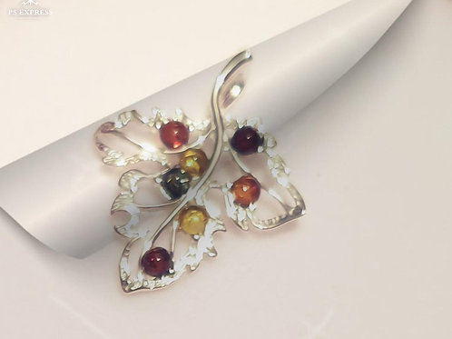 """""""AMBER LEAF"""" - Silver Pendant with Baltic Amber stones"""