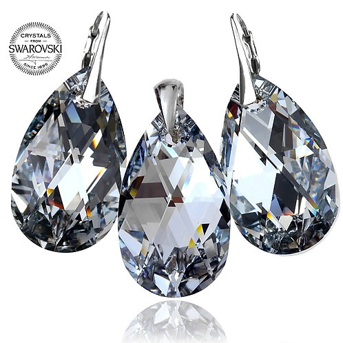 COMET Swarovski Large Pear Drop Crystal Earrings and Pendant Set