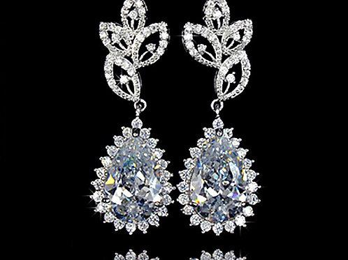 FIONA Vintage Teardrop Cubic Zirconia Crystal Earrings