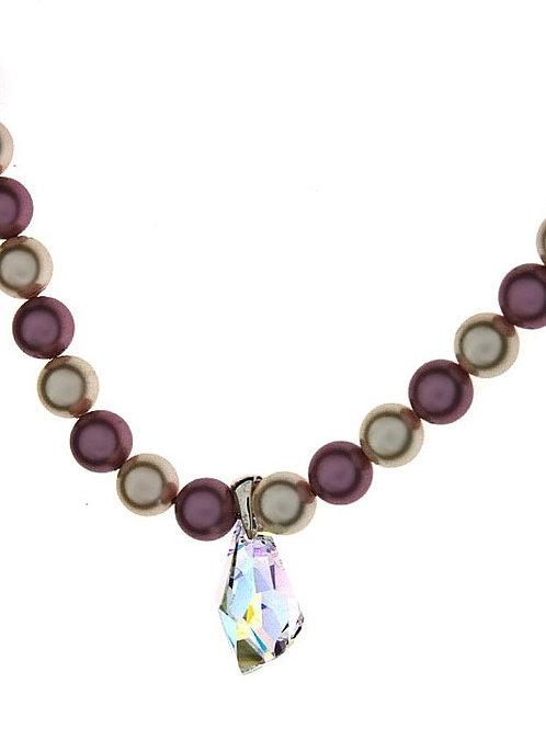 CARMEN Dusty Rose & Ecru Pearls Crsytal Drop Swarovski Necklace