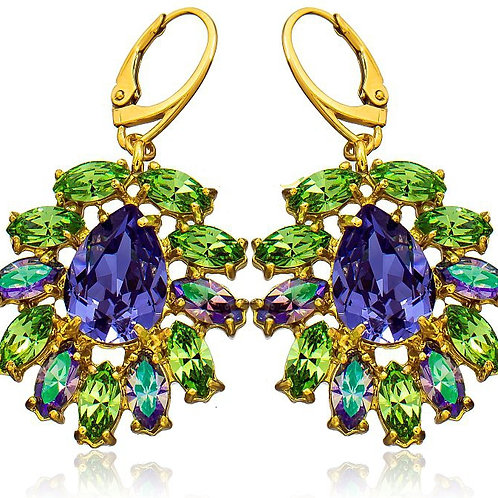 AZURE Green and Violet Gold Swarovski Crystal Earrings