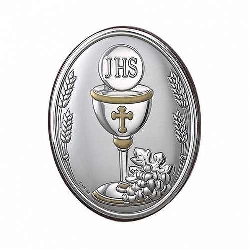 First Holy Communion Silver-plated Gift Image with Gold Elements