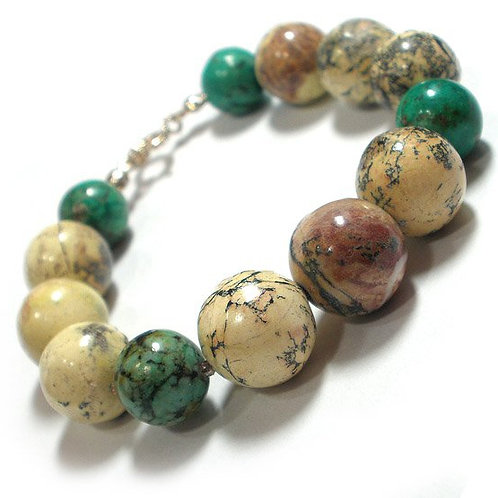TURQUISE Original Bracelet with Natural Stones in Colours of Spring