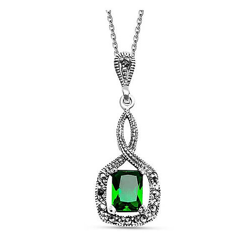MARA Marcasite Gemstone with Green Zirconia Pendant