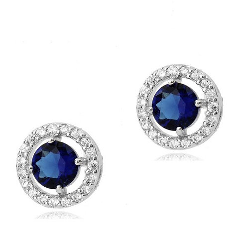 ADELLE Cornflower Blue & White Vintage Style Crystal Stud Earrings