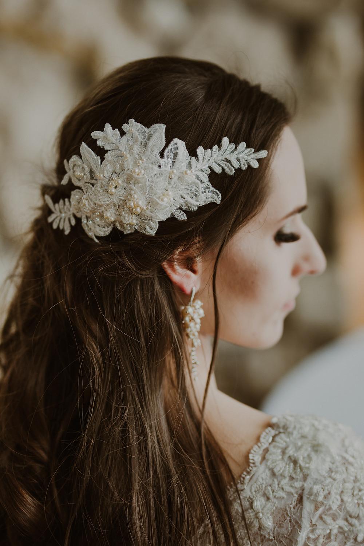 JASMINE Pearl Vintage Embellished Ivory Appliqué Wedding Hair Comb / Headband - Touch of Venus Jewellery