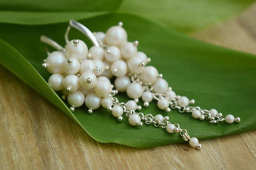 ELEANOR Pearl Crystal Pearlescent White Long 8.5cm Swarovski Earrings
