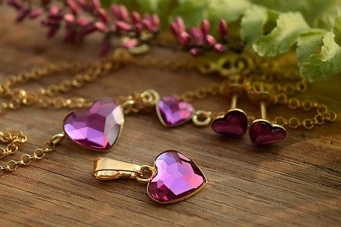 LOVELY Gold-plated 24ct Heart Swarovski Fuchsia Crystal Set
