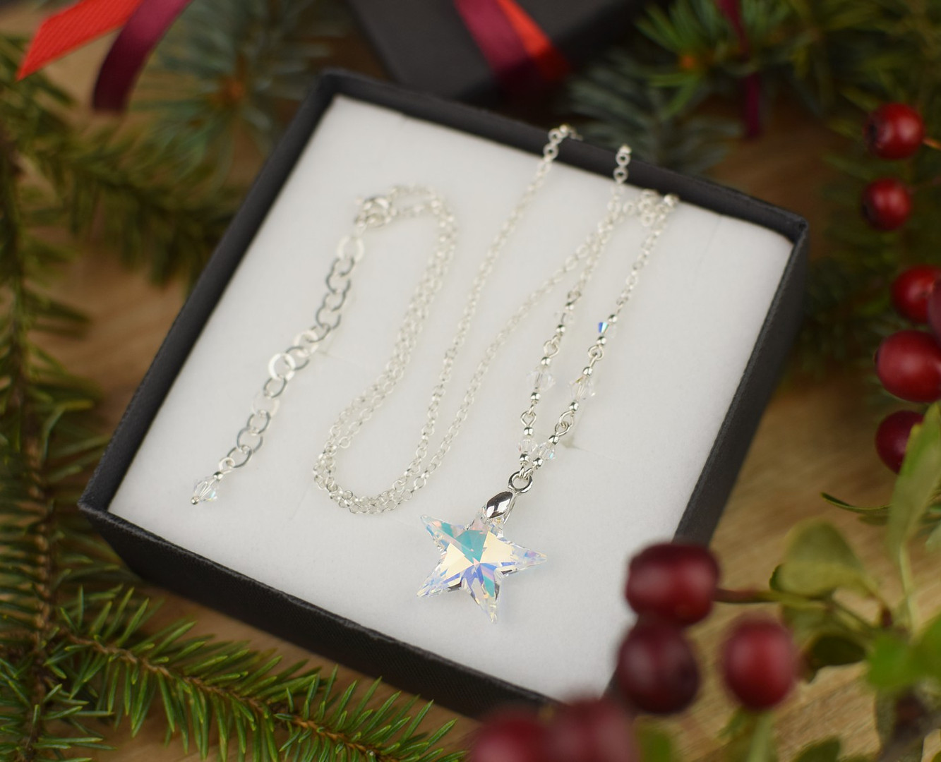 STAR Swarovski Aurora Borealis Crystal Necklace