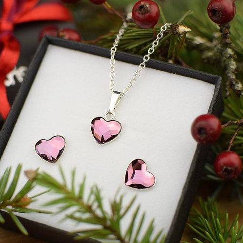 LOVE Hearts Swarovski Antique Pink Crystal Set