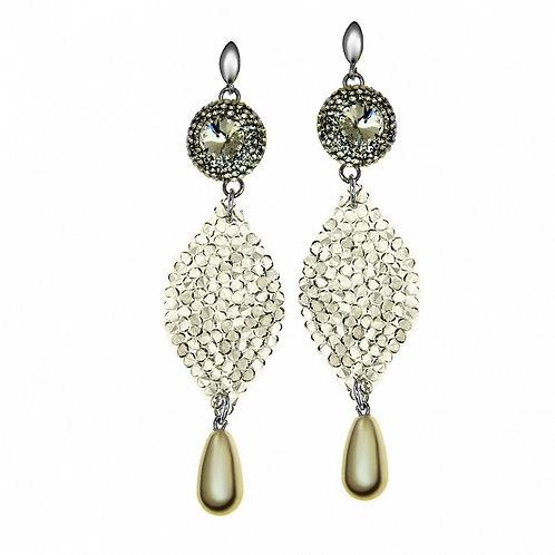 LONG Elegant Tear Drop Pearl Crystal White Swarovski Earrings