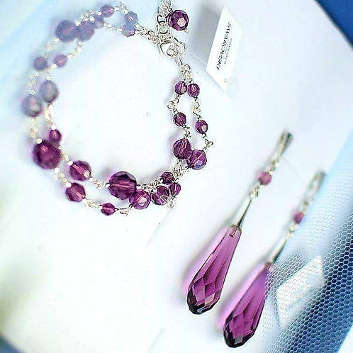 GRACE Amethyst Crystal Swarovski Earrings & Bracelet Set