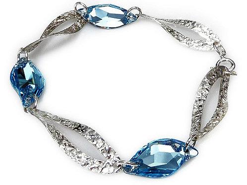 AQUA TOLDO Crystal Swarovski Bracelet with Silver Awnings