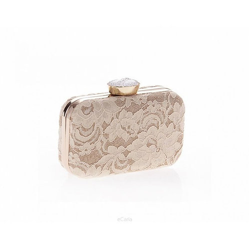 VENETA Cream Lace Crystal Elegant Box Clutch Bag