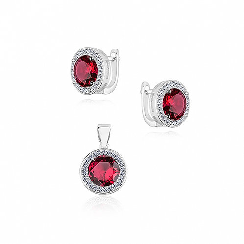 ANTOIETTE Red Rhodium-plated Silver Set with Cubic Zirconia