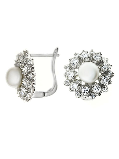 LENA Natural White Pearl and Cubic Zirconia Earrings