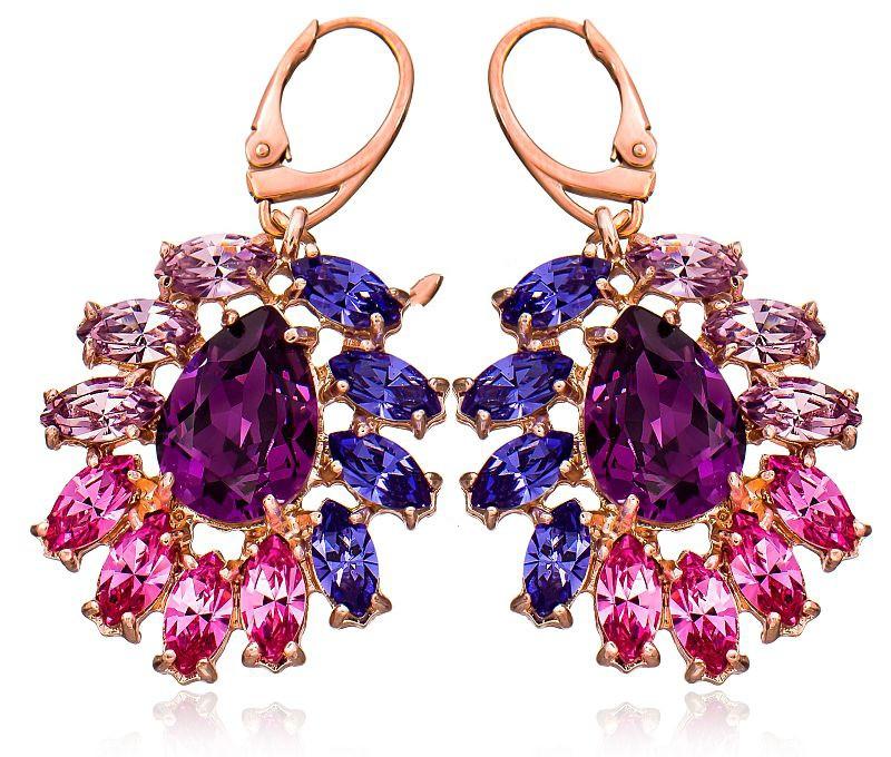 SPRING AZURE Rose Gold Crystal Swarovski Earrings