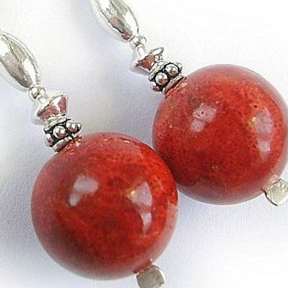CORAL Long Silver Earrings