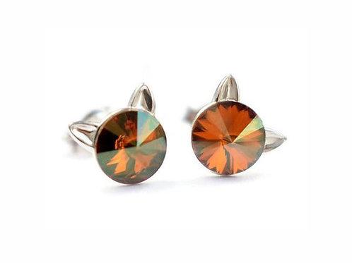 KITTY Copper Rivoli Swarovski Earrings Flower Swarovski Earrings