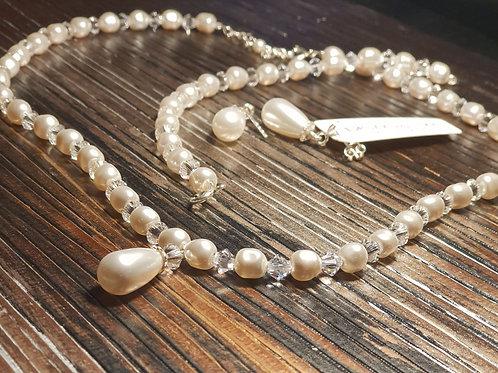 ALICE Ecru Swarovski Teardrop Pearl and Crystal Necklace, Bracelet, Earring Set