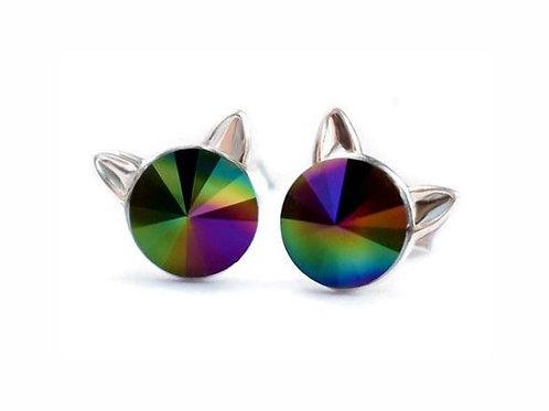 KITTY Rainbow Dark Rivoli Swarovski 0.6 cm Earrings