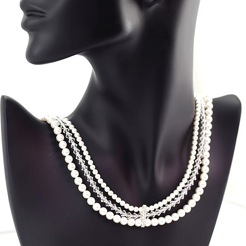 BLANCA Swarovski Crystal Triple Strand Pearl Necklace