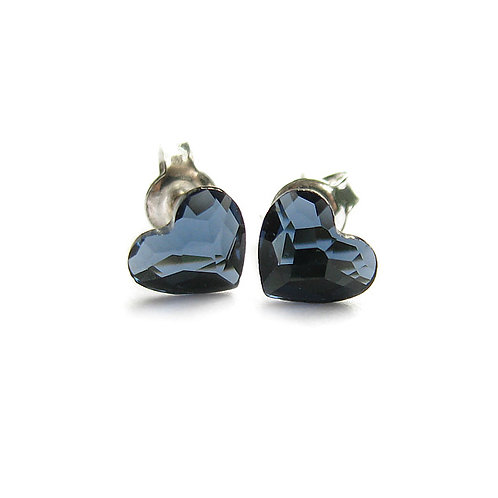 LOVELY Hearts Swarovski Denim Blue Crystal Stud Earrings