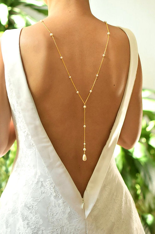 CLASSIC Graceful 24ct Gold-plated & Light Creamrose Pearl Back Necklace