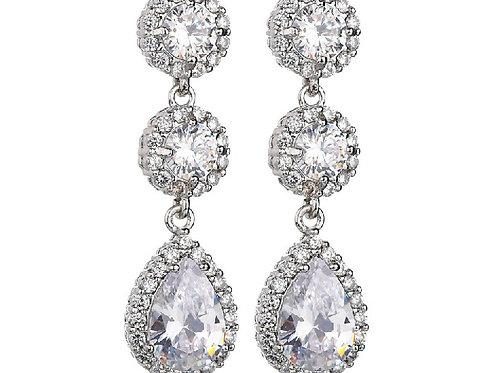 TESSA Vintage Sytyle White Gold-plated Cubic Zirconia Teardrop Earrings
