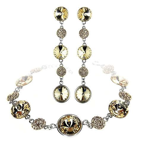 SORAYA Swarovski Crystal Bracelet & Earring Set with Engraving