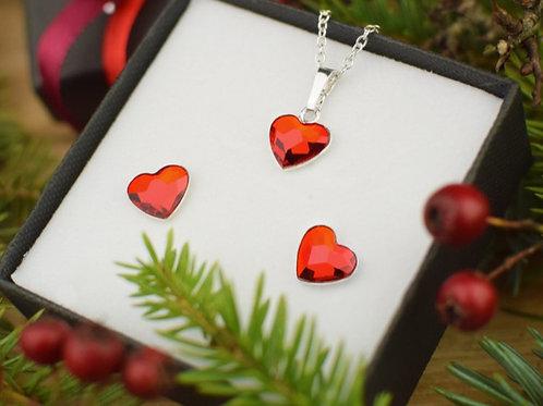 LOVE Hearts Swarovski Light Siam Crystal Set