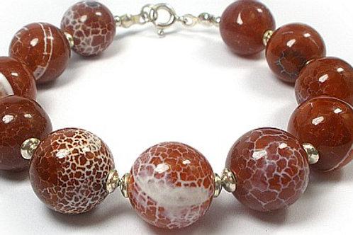 FIRE AGATE Unique Silver Bracelet